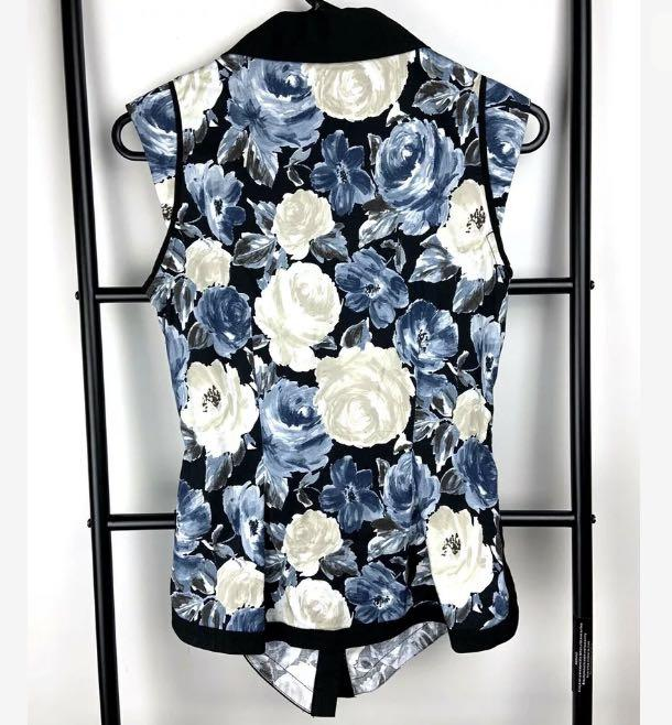 CUE 6 blue black white floral rose tank top shirt blouse smart casual work