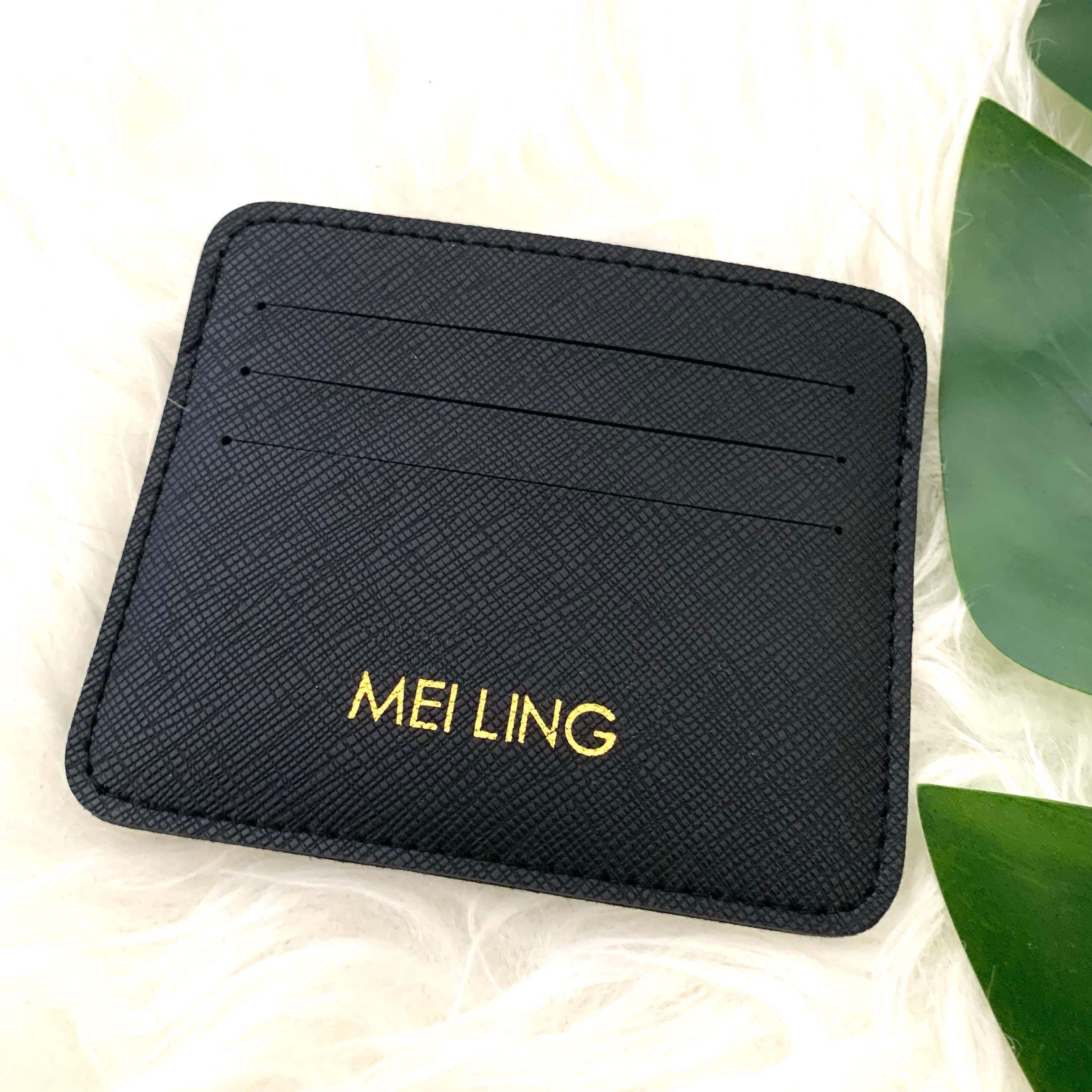 Saffiano Black Card Holder Personalised Cardholder