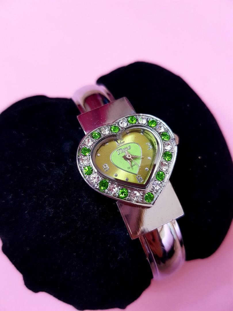 Emerald Stainless Steel Heart Shaped Watch-Open Bangle