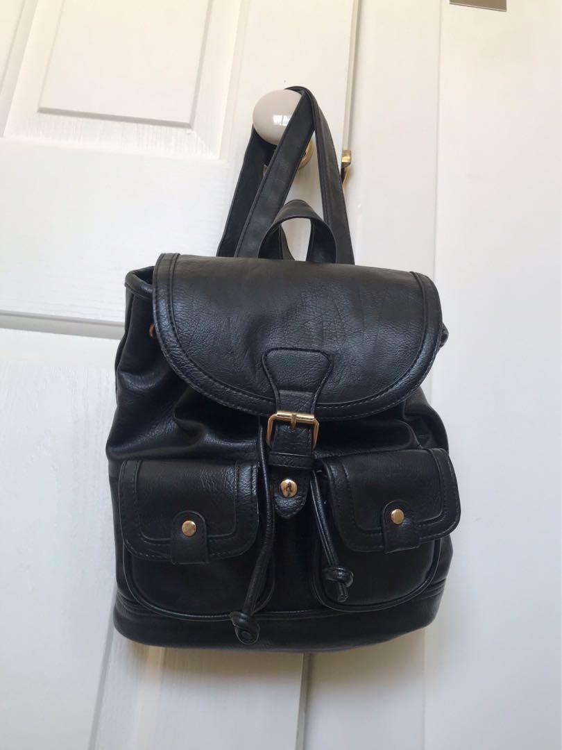 faux leather drawstring bag bluebird adjustable straps