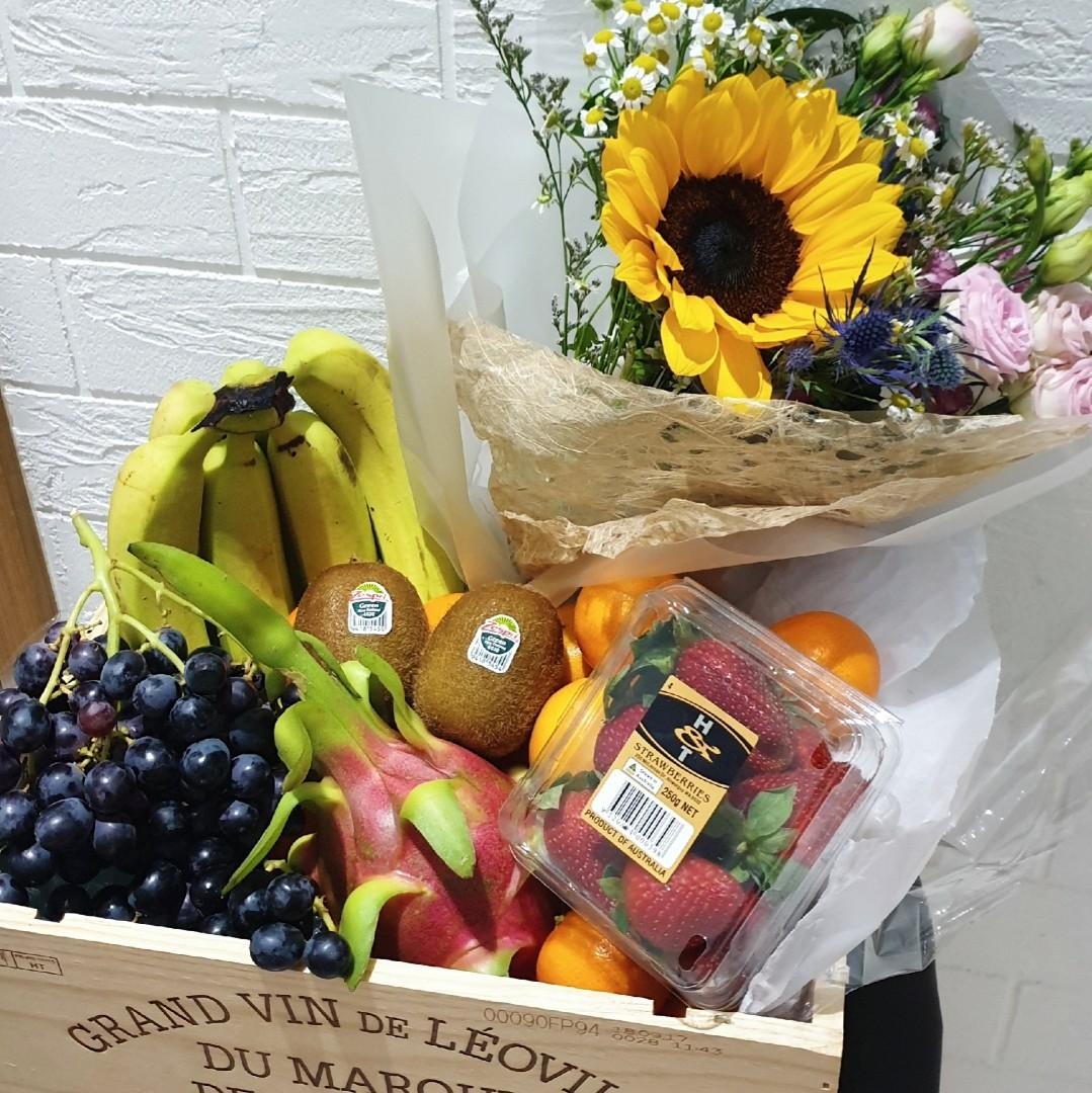 Fruit Basket & Sunflower Bouquet in Upcycled Wine Crate