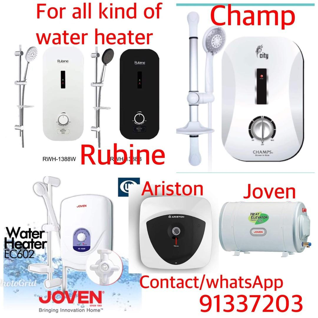 Joven water heater repair, storage tank ,instant water heater, ariston,rheem,rubine,champ City /replacement/installation and handyman services 24/7 contact at 91337203