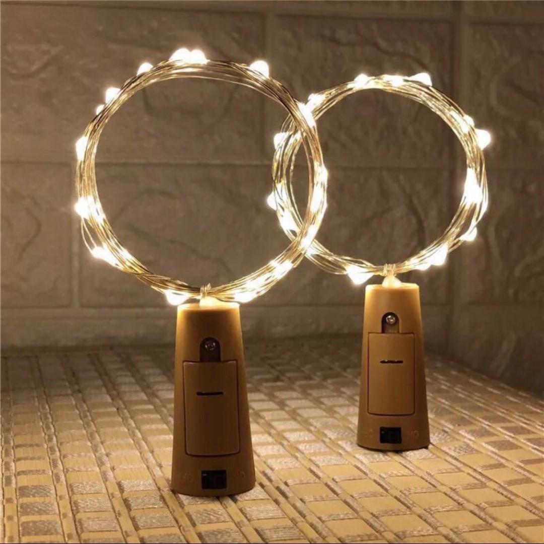 婚後物資LED電池瓶塞銅綫燈串酒瓶燈房間裝飾照片牆ins裝飾彩燈户外满天星1.4m米15燈12個