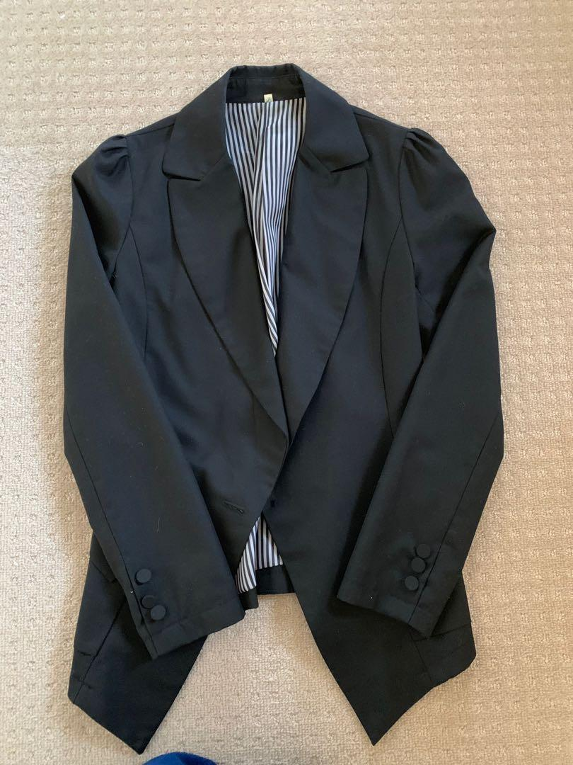 Little black jacket pretty shoulder ruffle pleats
