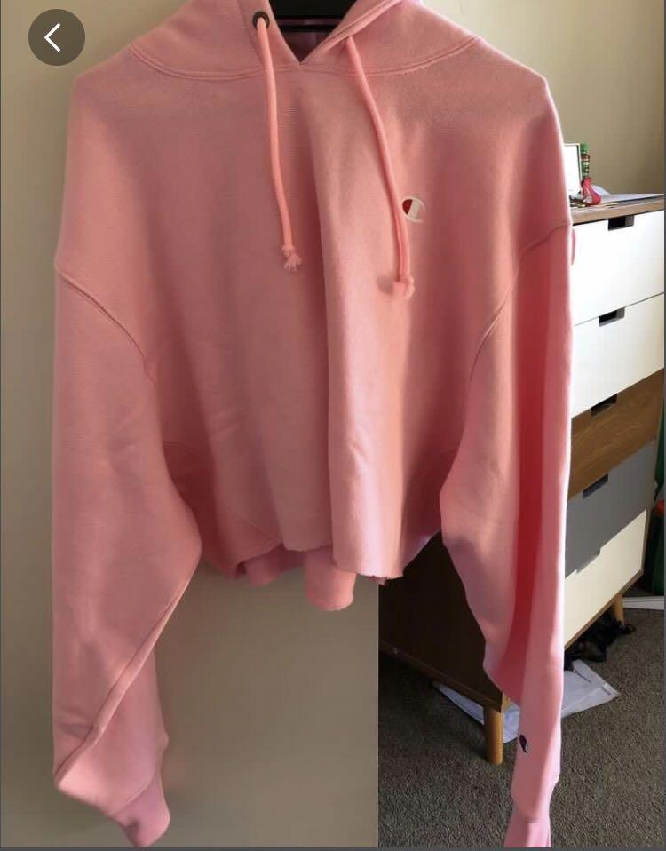 Pink cropped champion hoodie