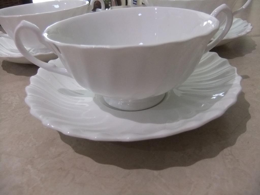 ROYAL DOULTON WHITE DINNER HANDLE SOUP BOWLS SAUCERS EXCELLENT COND X 3 ENGLAND