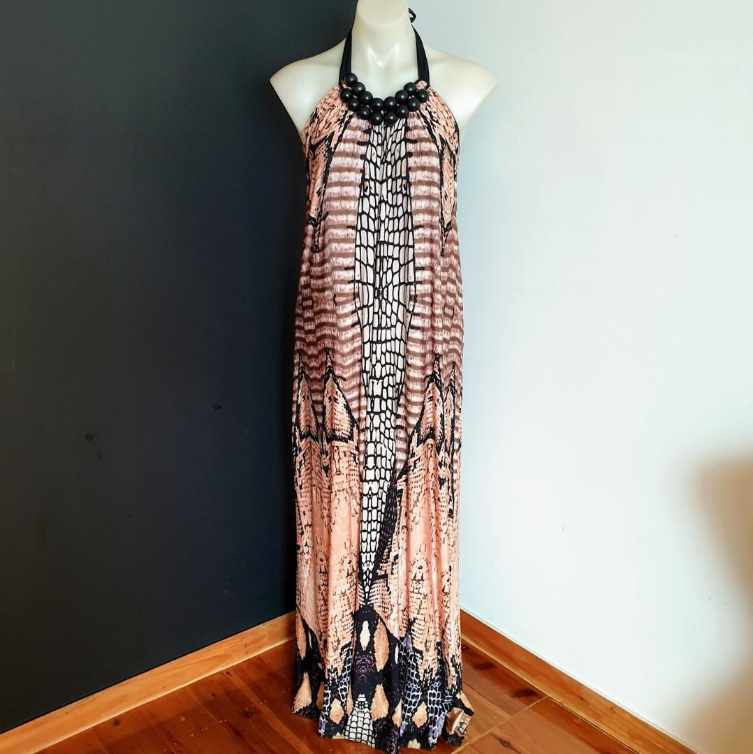Women's size 10 'COOPER ST' Stunning tribal print halter neck maxi dress -AS NEW