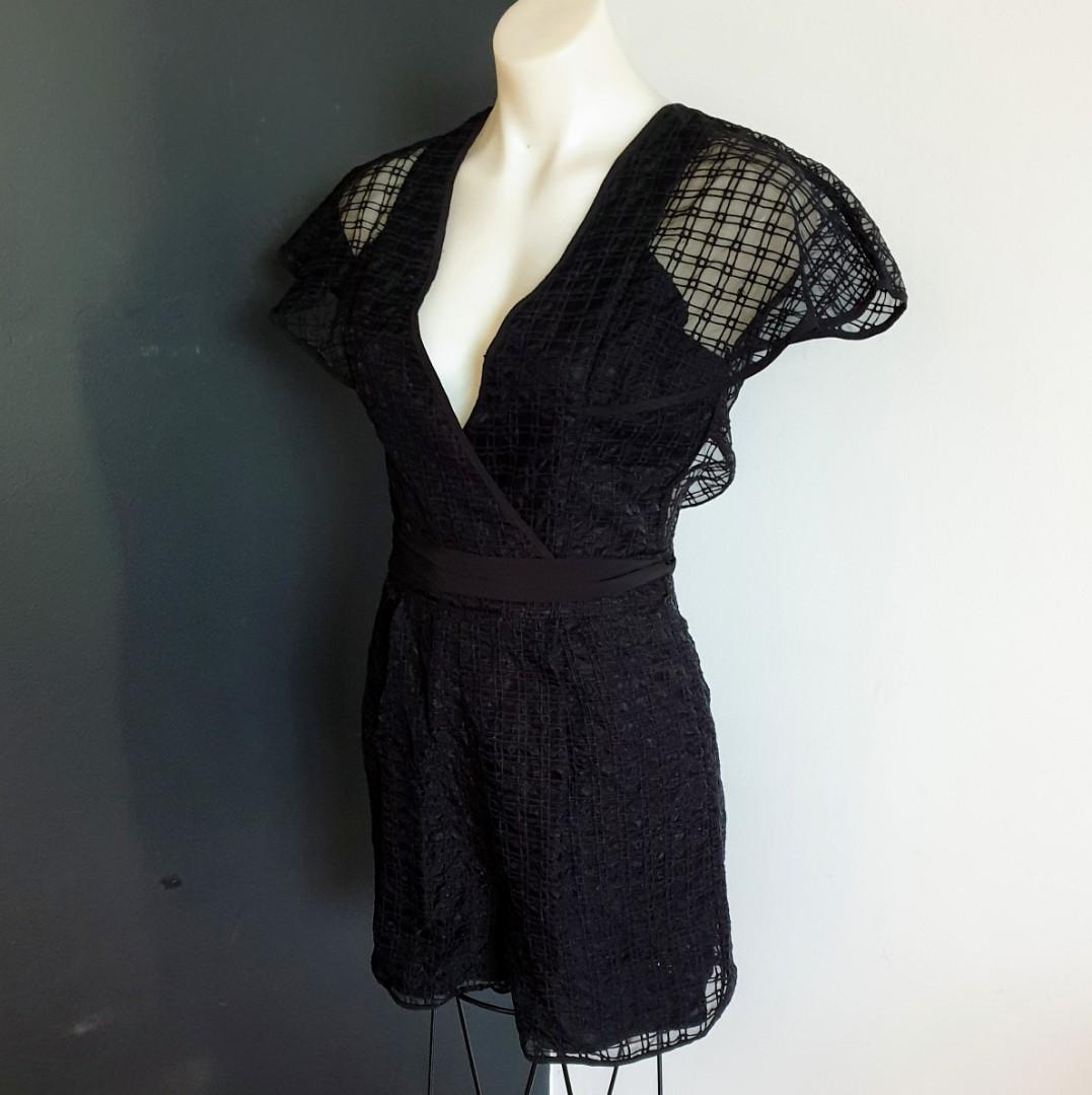 Women's size 8 'COOPER ST' Stunning black textured overlapping playsuit- AS NEW