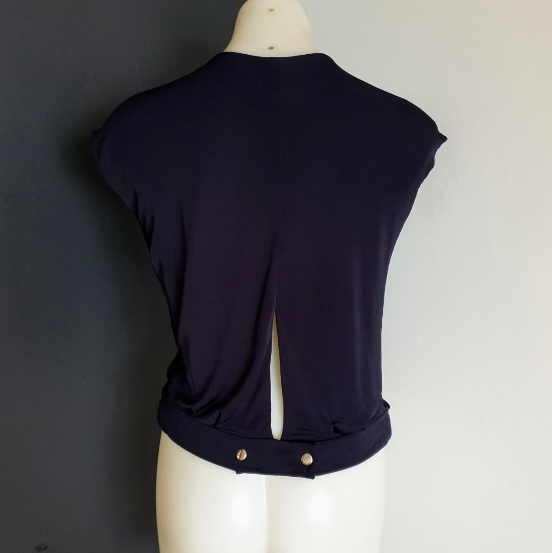 Women's size S 'SEED HERITAGE' Stunning black overlapping sleeveless blouse top - AS NEW