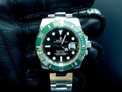 PREOWNED ROLEX SUBMARINER, Green HULK, 116610 LV, Oystersteel, 40mm, Alphanumeric Series, Year 2014 Mens Watch