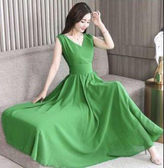 綠色雪紡長洋裝 無袖