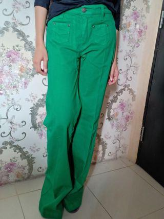 Long Pants Flared colour Green size 27