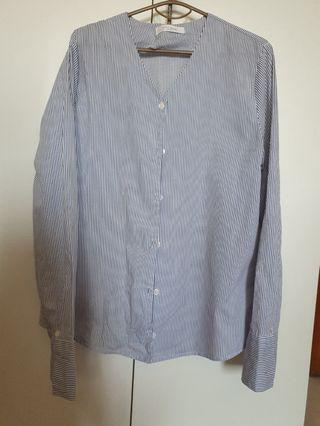 Blue Long-sleeved Striped Blouse