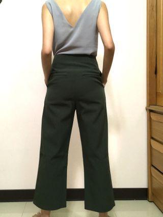 高腰墨綠西裝寬褲