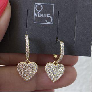 Italian Yellow Gold in Sterling 925 Silver Heart Pavè Mini Hoop Earrings