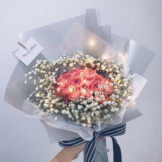 Carnations Bouquet with Baby's Breath