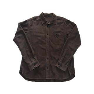 Muji 咖啡色口袋法蘭絨襯衫