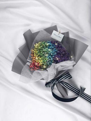 Rainbow Baby's Breath Bouquet