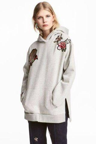 H&M Embroidered Hooded Top - Oversized Hoodie