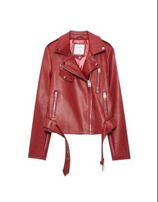 Pull&Bear Faux Leather Biker Jacket with Belt (Maroon)