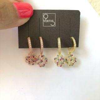 Italian Rose Gold Four Leaf Clover colorful Pavè earrings
