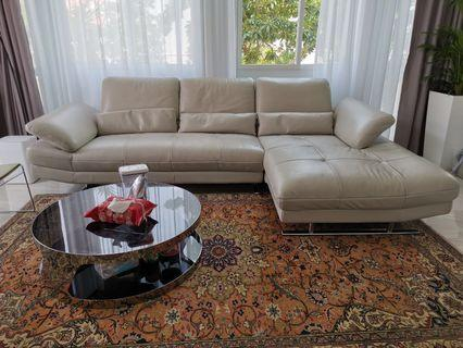 Kuka Grey Soft Top Grain Leather Sofa to go quickly
