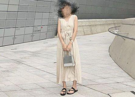 綁帶露腰長裙