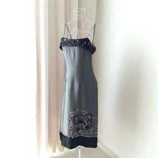 Silver Grey Embellished Dress