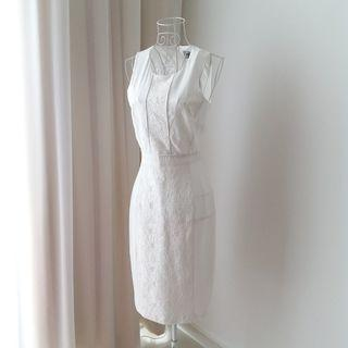 Asos White Lace Panel Midi Dress