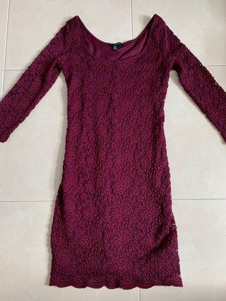 🚚 Lace Dress Wine Colour