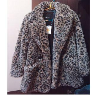 NET毛絨豹紋大衣外套