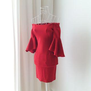 Off Shoulder Bodycon Red Dress with Flared Sleeves