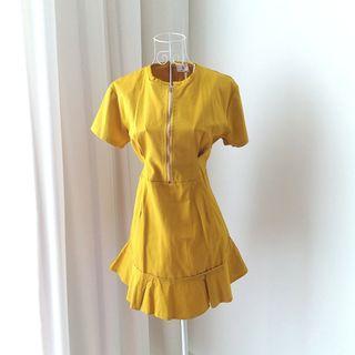 Mustard Yellow Zipper Dress