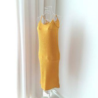 Mustard Yellow Ribbed/ Knitted Dress