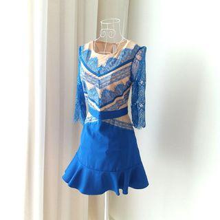 Three Floor Inspired Eyelash Lace Blue Dress