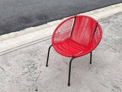 Modern Retro Designer String Chair Red