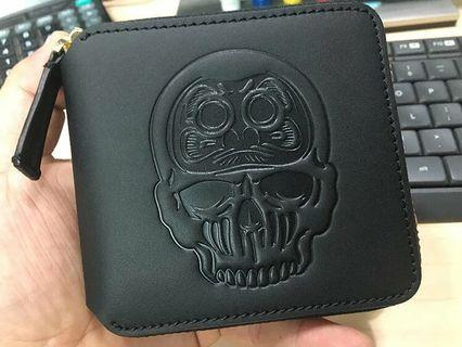 Japan EVISU jeans leather DARUMA SKULL zip wallet pouch coin pocket purse gucci coach