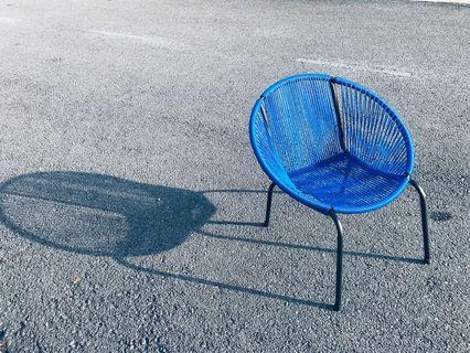 Modern Retro Designer Round String Chair Blue
