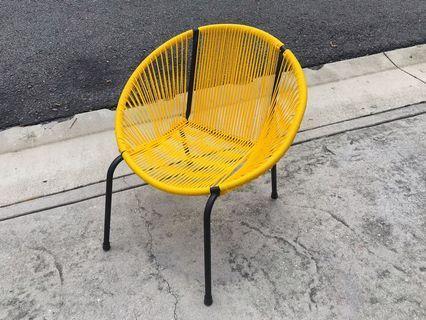 Modern Retro Designer String Chair Yellow