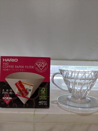 🚚 V60 coffee dripper and filters