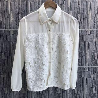 SALE - Pearly White Lace Shirt