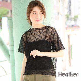 ☺日本品牌Heather素色小立領鏤空透膚蕾絲後扣式短袖上衣與細肩無袖背心二件組