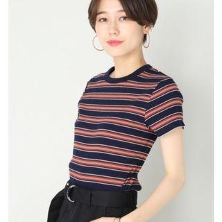 ☺日本品牌Lowrys Farm深藍色條紋伉條感短袖上衣T恤