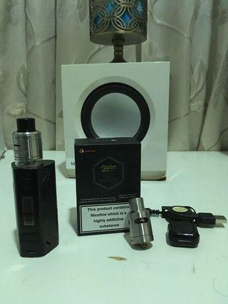 Smoant Battlestar vape mod + peerless tank dripper (with box and spare items) + cable + free brandless dripper
