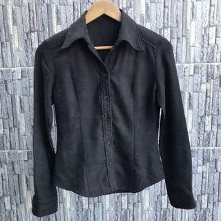 Black Woolly Button Up Shirt