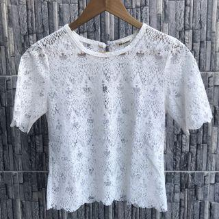 White Scallop Lace Top