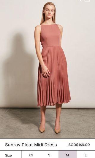 Collate The Label Sunray Pleat Midi Dress