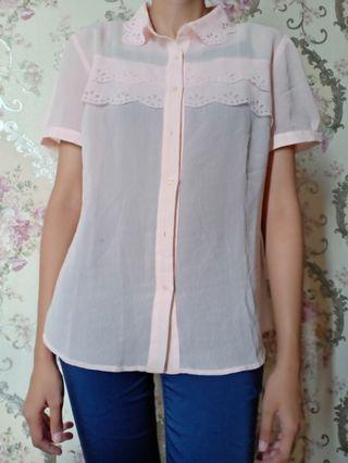 Kemeja Pink Minimal with laces