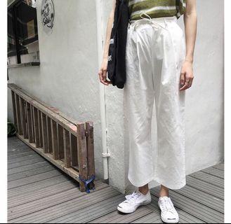 (全新)綁帶寬鬆直筒九分褲-白色