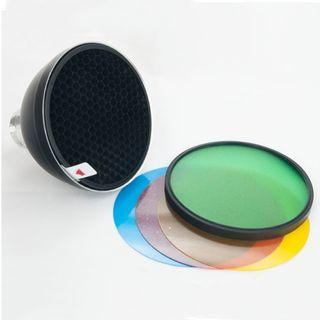 Godox AD-S2 Standard Reflector with Soft Diffuser and AD-S11 Four Color Filter Gel (Red, Blue, Green, Yellow) for Godox Ad180, Ad360 and AD200